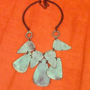 Free people metal necklace turquoise BOHO